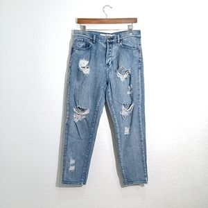 Melville distressed rip High waist Mom jeans